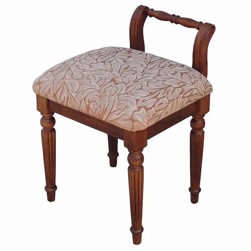 American Solid Wood Makeup Stool Back European Dressing Stool Dressing Table Chair Simple Creative Princess Stool