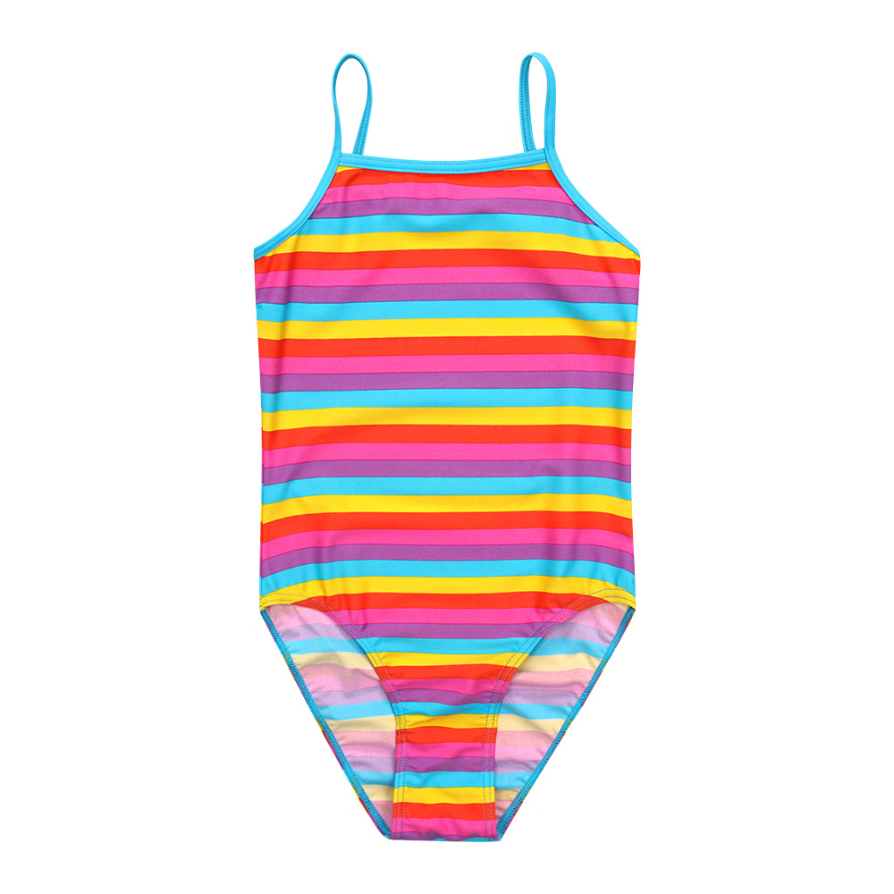 KID'S Swimwear Cross Border Electricity Supplier Supply Of Goods GIRL'S Swimsuit Multi-color Stripe One-piece Anti-UV Bathing Su