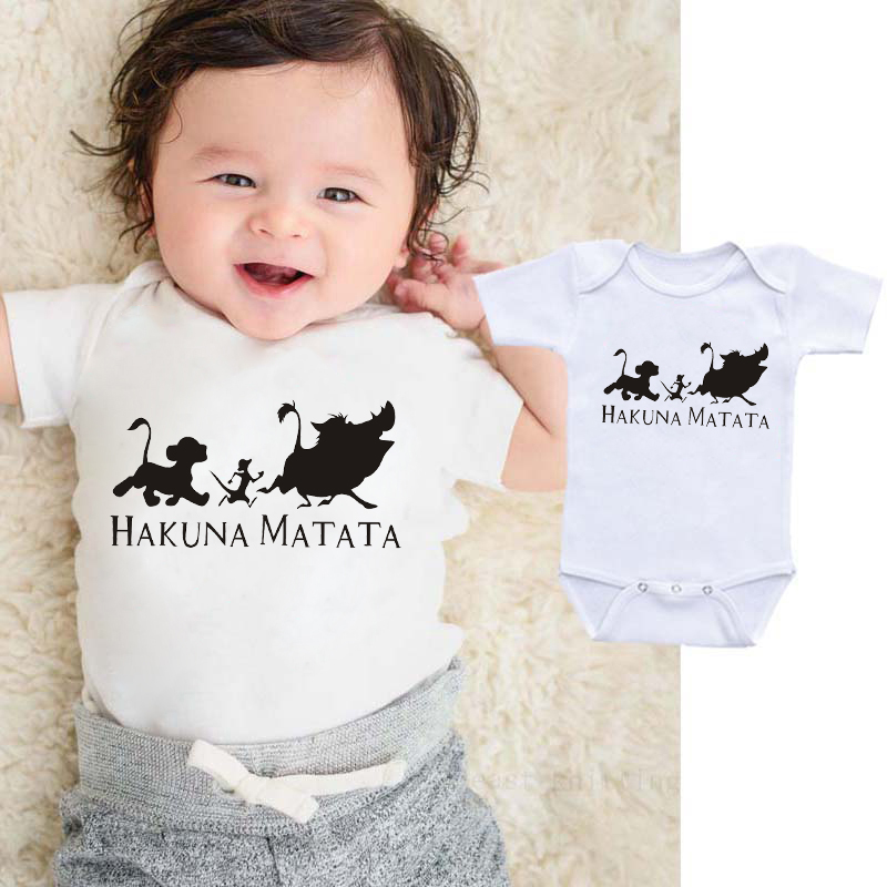 DERMSPE 2019 Infant Newborn Baby Boy Girl Clothes Letter HAKUNA MATATA Baby Romper Jumpsuit Outfit White Clothes
