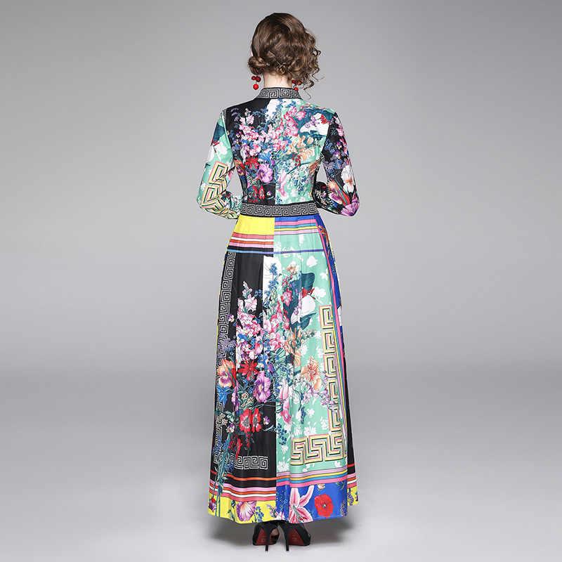 2019 Passarela Da Moda Outono Print Floral Vestido Maxi das Mulheres de Alta qualidade Turn Down Collar Big Balanço Vestido Longo camisa