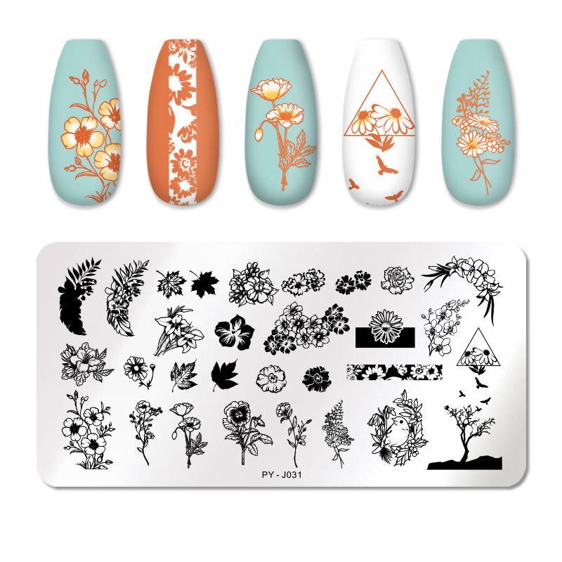 PICT YOU 12*6cm Nail Art Templates Stamping Plate Design Flower Animal Glass Temperature Lace Stamp Templates Plates Image 64
