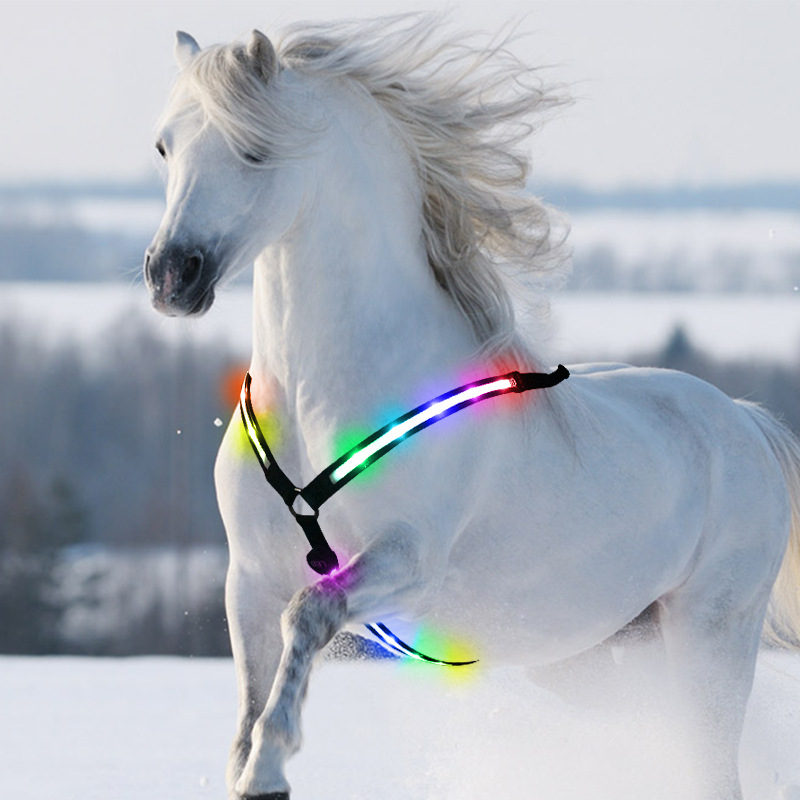 8 Colors Dual Led Horse Harness Night Visible Colorful Nylon Breastplate Breast Collar Safe Horse Riding Equipment Equestrian