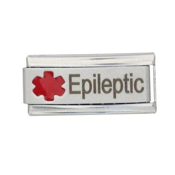 Epileptic Itallian super link bracelet Emergency patient disease medical alert awareness Italian charm for bracelet fit Zoppini image