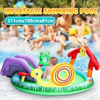 Inflatable Baby Swimming Paddling Pool Slide Toys Water Spray Outdoor Garden Fun Toy Pool Surfboard Summer Water Games Toy