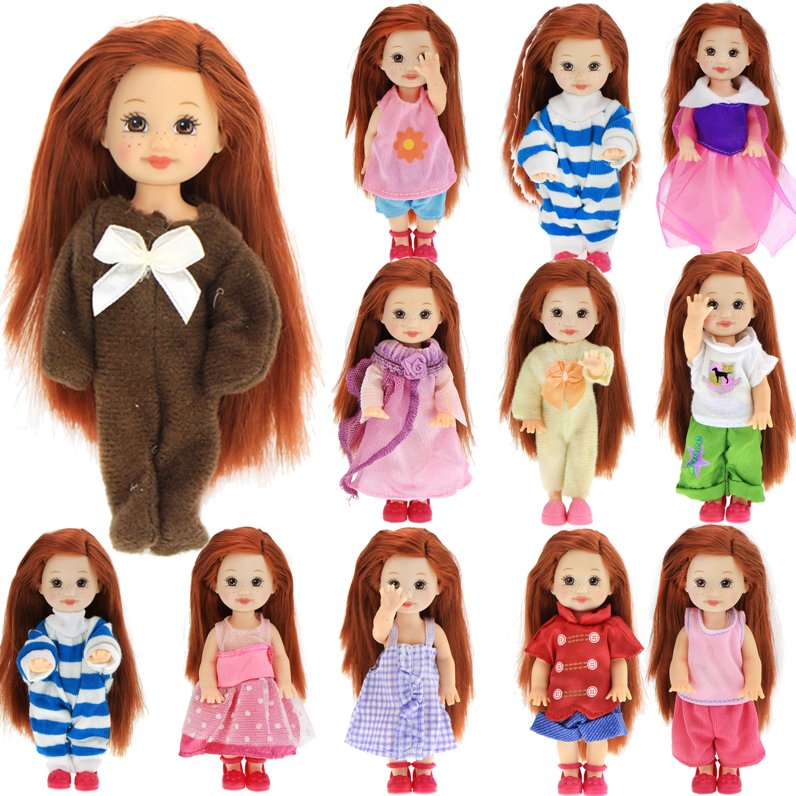 Random 10x Mini Outfit Mixed Style Fashion Casual Wear Little Dress Clothes For Kelly Doll Dollhouse Accessories Kids DIY Toy