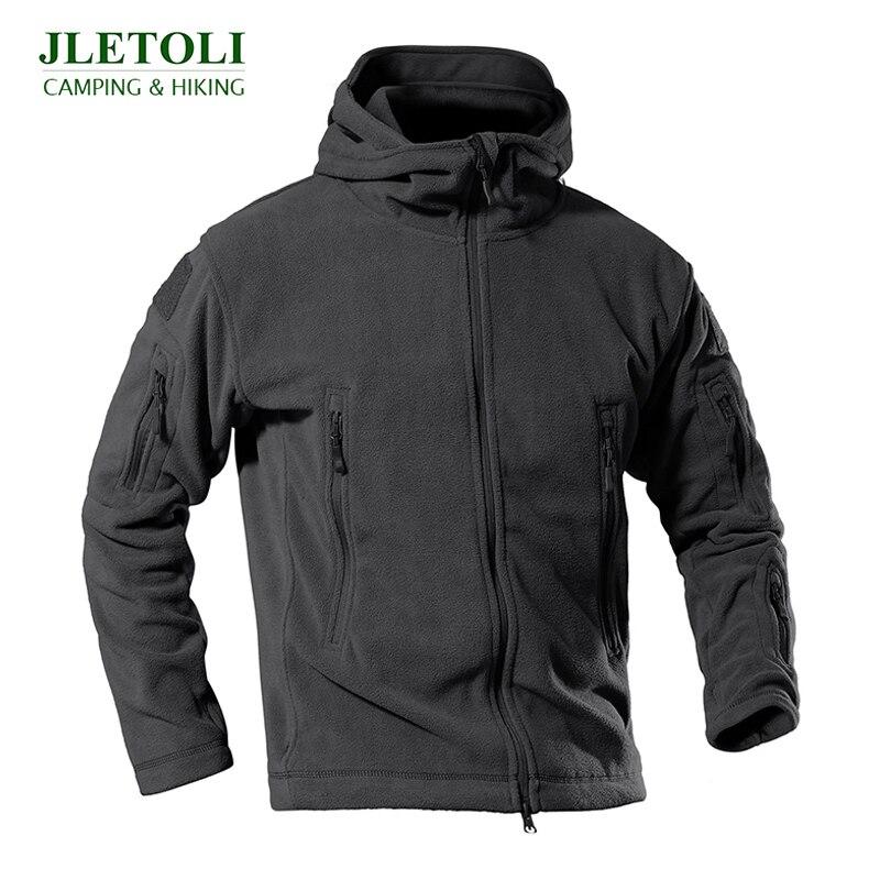 JLETOLI  Military Tactical Outdoor Soft Shell Fleece Jacket Men Army Sportswear Thermal Sport Hooded Jackets Hiking Coats