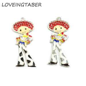 ( Choose Color First ) 55mm*25mm 10pcs/lot Toy Cowgirl Zinc Alloy Rhinestone Pendants For Necklace(China)