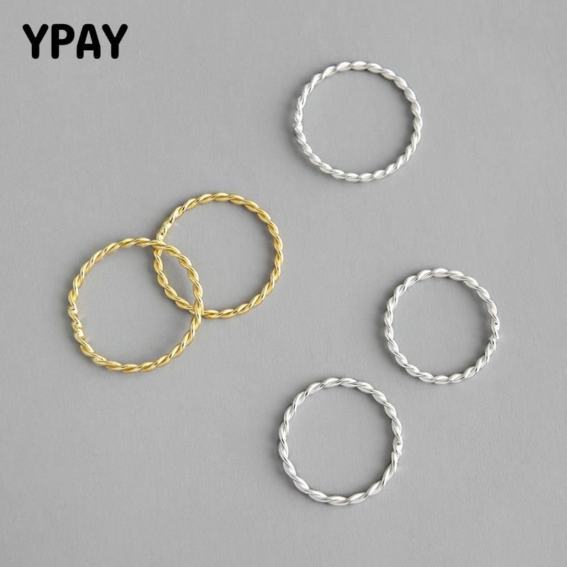 YPAY Genuine 925 Sterling Silver Rings For Women Girls Korean Simple INS Minimalist Twist Finger Ring Fine Party Jewelry YMR880