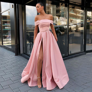 Image 5 - 2020 BEPEITHY Spring Robe De Soiree Pink Off The Shoulder Evening Dresses With High Slit Sexy Long Prom Party Dress Abendkleider