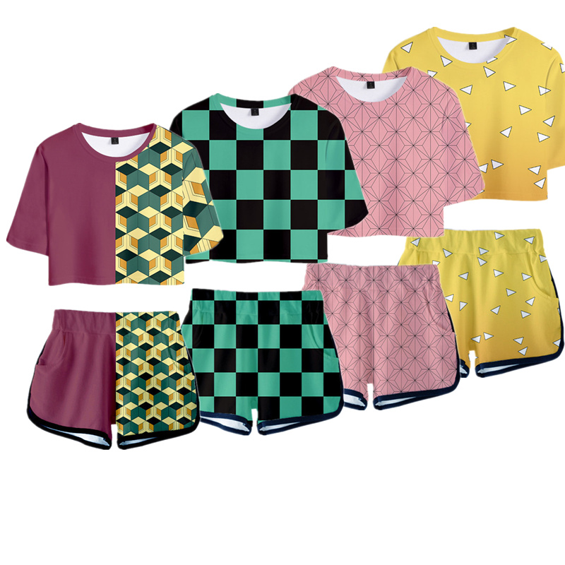 Demon Slayer Kimetsu No Yaiba Outfit Costume Top Shorts Sport Suits Women Kamado Nezuko Cosplay Running Shorts Shirt Girls Set