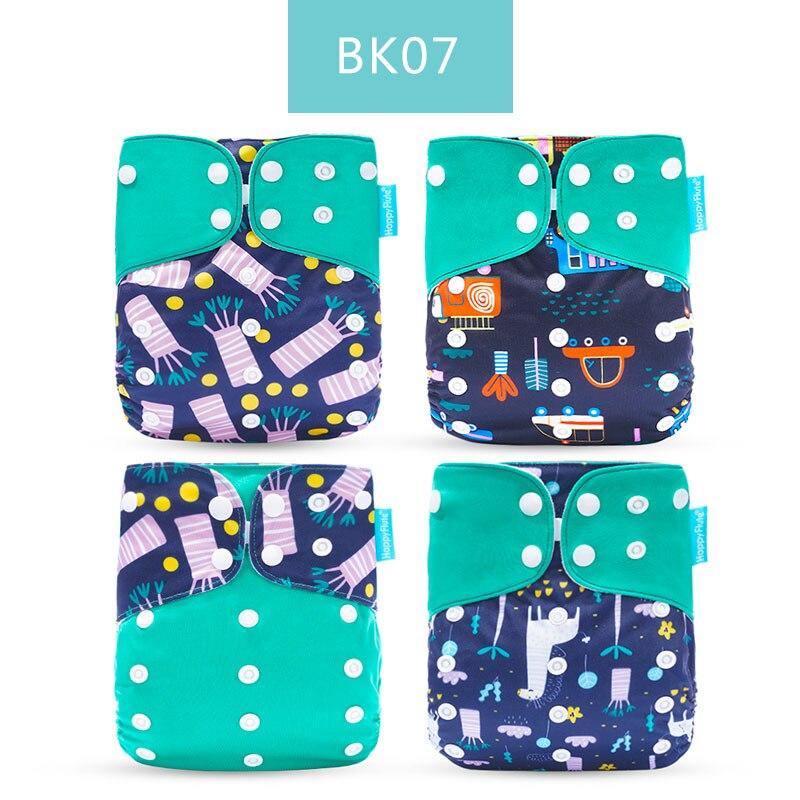 Happyflute 4 шт./компл. моющиеся экологически чистые тканевые подгузники; регулируемый пеленки Многоразовые подгузники из ткани подходит 0-2years, на Возраст 3-15 кг для малышей - Цвет: BK07 only diaper