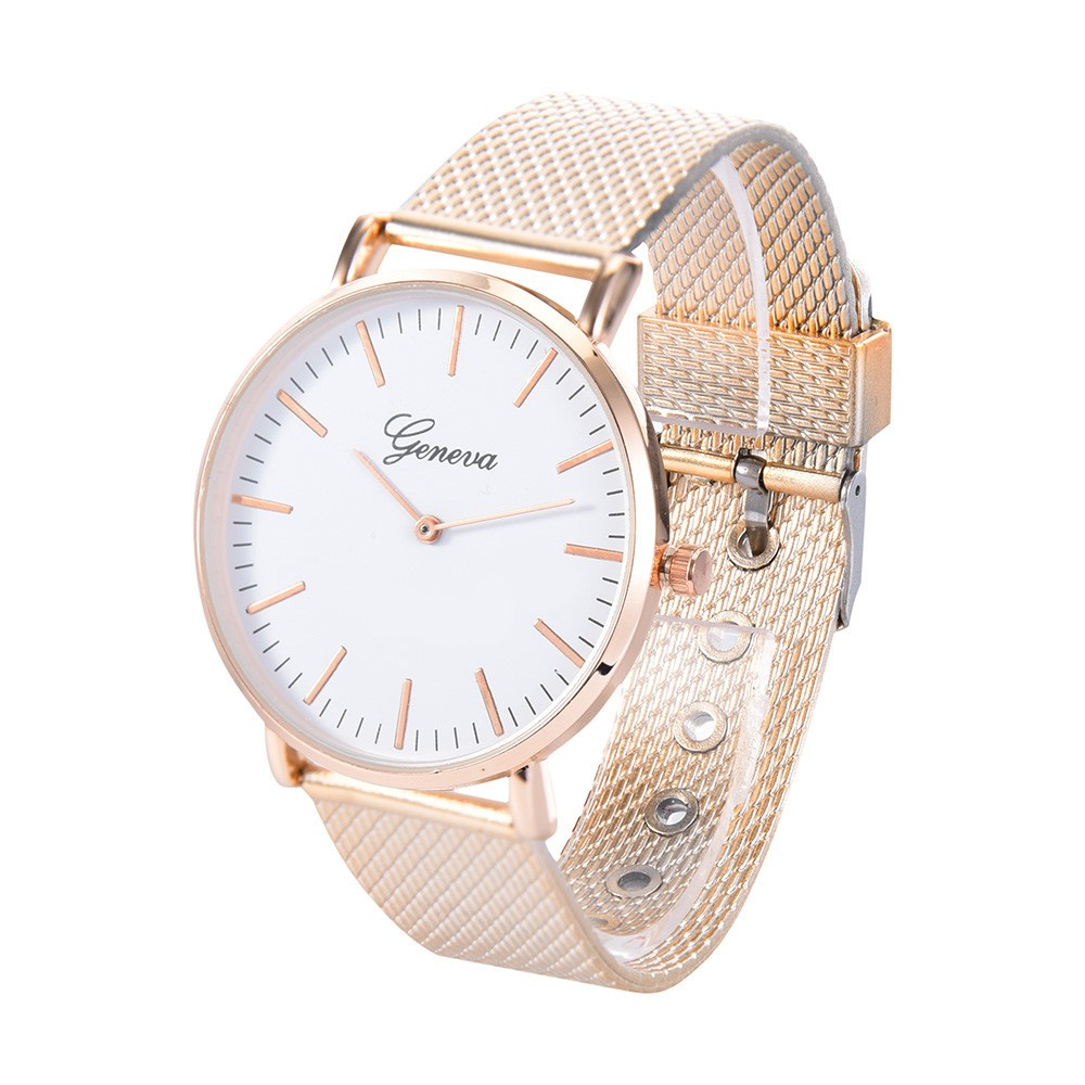 Geneva Watches Men Luxury Brand Stainless Steel Quartz Watch Sport Rose Gold Band Wrist Watch Women Dress Relogio Masculino