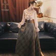 YOSIMI 2019 Autumn Winter Sweater Skirt Set Full Sleeve Blouse Top