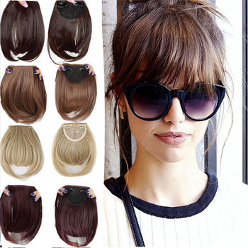 S-noilite Natural Bang False Hair Bangs black brown auburn red Clip In on Synthetic Fringe clip in bangds for women - discount item  28% OFF Synthetic Hair