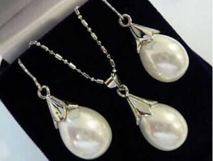 + + + 901 Wit shell pearl teardrop Hanger ketting Oorbel