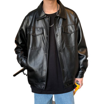 2020 Spring New Loose Soft Leather Jacket Single Breasted Jacket Men Casual Biker Jacket Men Jacket Leather