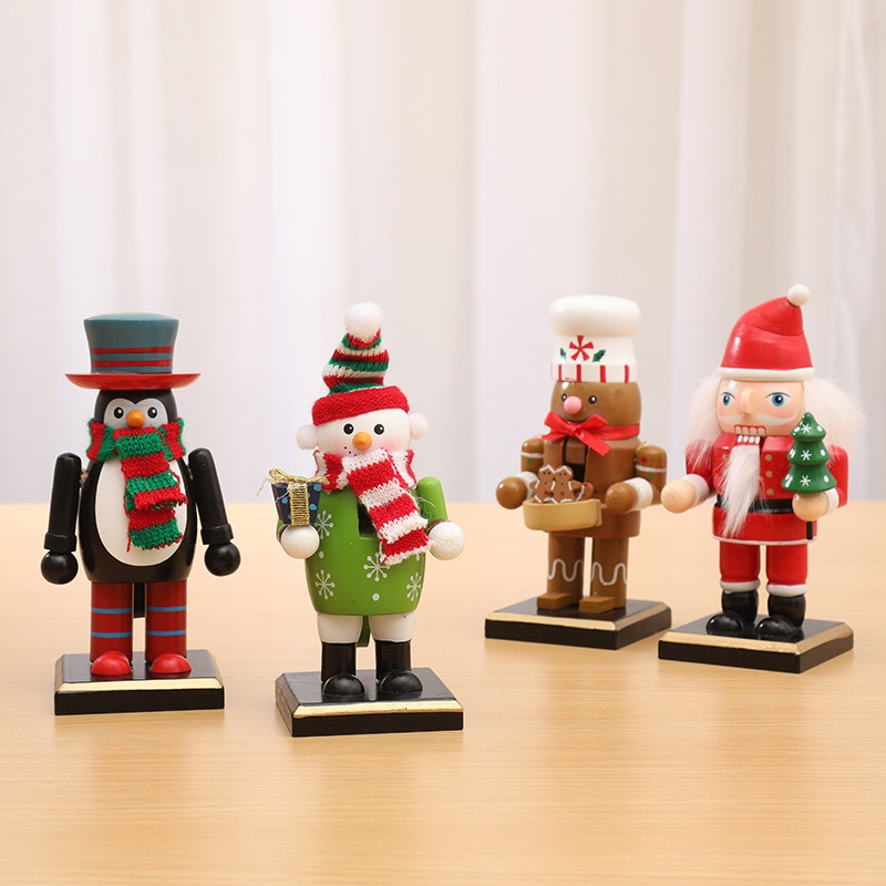 Hot Wooden Christmas Nutcracker Figurines Table Ornaments Santa Claus Snowman Puppet Gift Christmas Home Decorations