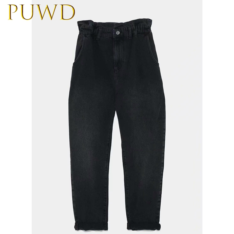 PUWD 2019 New Women's Fashion Street Loose Jeans