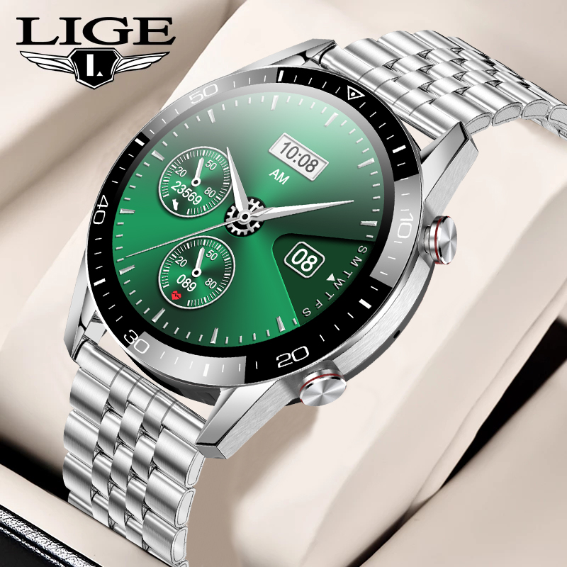 LIGE New Smart Watch Men Bluetooth Call IP68 Waterproof Heart Rate Blood Pressure SmartWatch Fitness Tracker Sports Android IOS