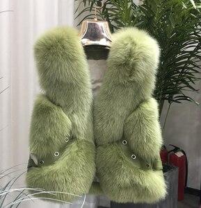 Image 5 - 2020 Nieuwe Echte Vos Bont Jas Vesten Korte Ontwerp Dames Winter Mode Bont Vesten Met Lederen Klinknagel Bont Gilets Jassen warm