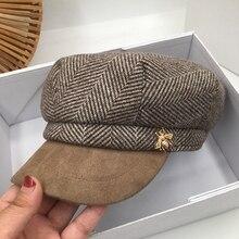 Военные шапки осень зима новый замшевый шовный колпачок, женский Британский ретро восьмиугольный колпачок tide take navy, трендовая уличная шапка