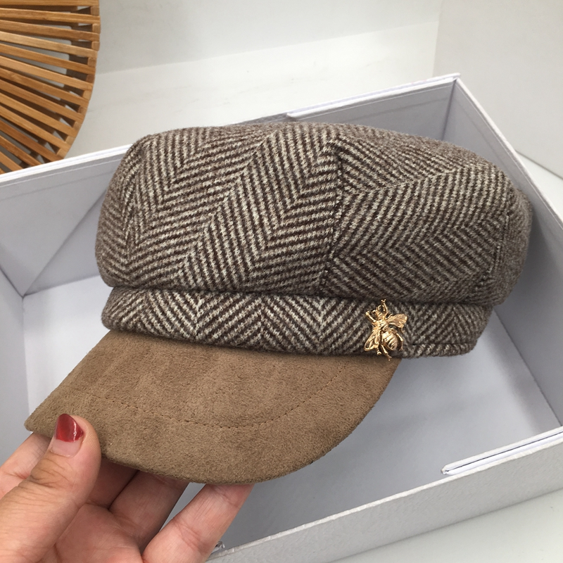 Autumn And Winter New Suede Stitching Cap Female British Retro Octagonal Cap Ins Tide Take Navy Cap Trendy Street Beat by Ali Express.Com