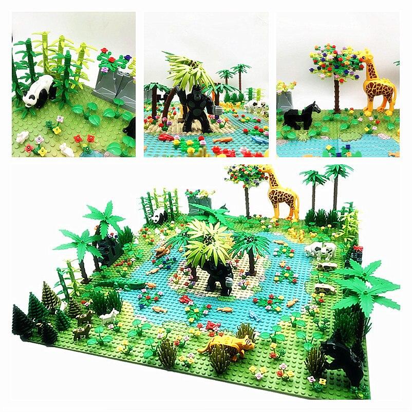 Детали для Дождевого леса, строительные блоки для самостоятельной сборки, зеленая трава, куст джунглей, цветок, дерево, растения, MOC, совмест...