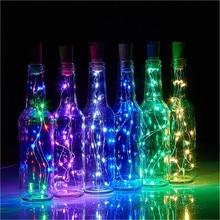 10 светодиодный s/20 светодиодный s светильники в форме винных бутылок с пробкой встроенный аккумулятор светодиодный в форме пробки Серебряный медный провод красочные сказочные мини-гирлянды