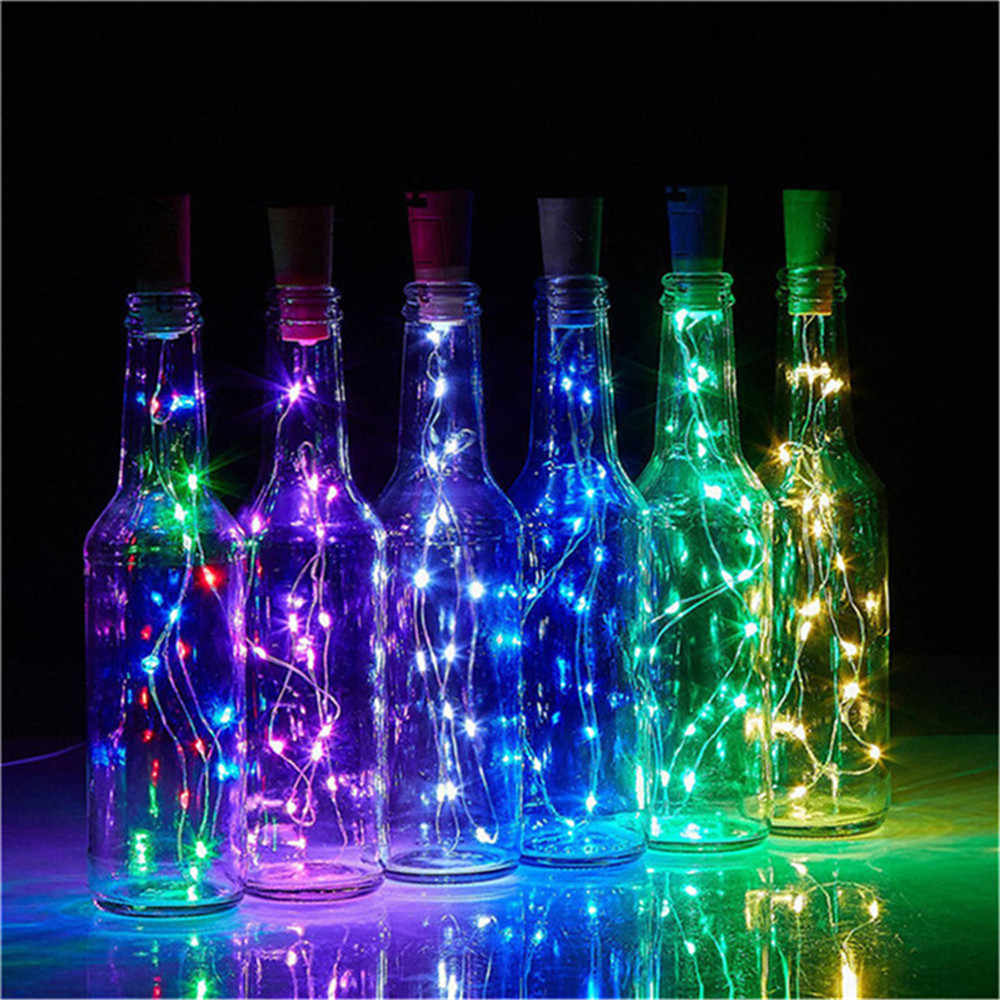 10Leds/20Leds Wine Bottle Lights With Cork Built In Battery LED Cork Shape Silver Copper Wire Colorful Fairy Mini String Lights