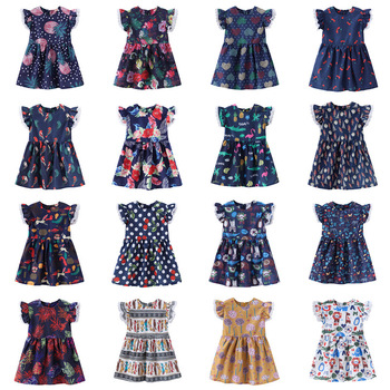 1-7 Years Kids Girl Dress Toddler Baby Fly Sleeve Dresses Summer Children Clothing Girls Cotton Princess Dress Kid Tops Outfits image