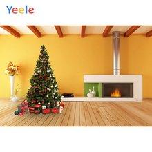 Рождественская елка подарок камин деревянный пол украшение для