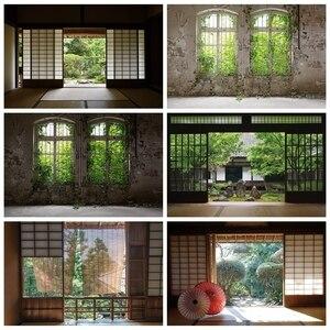 Image 1 - Laeacco 오래 된 집 창 풍경 녹색 나무 포도 나무 빈티지 Grunge 아기 초상화 사진 배경 사진 배경 Photocall