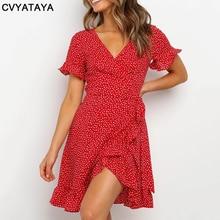 Red Sexy V Neck Floral Print Self Tie Wrap Dress Mini Dress Women Boho Ruffle Hem Flare Sleeve Summer Mini Dresses Vestidos