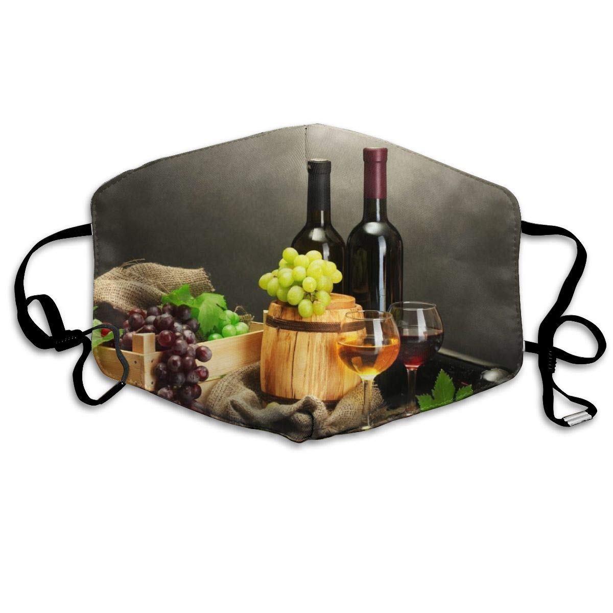 Mouth Mask Winery Barrel And Wine Print Masks - Breathable Adjustable Windproof Mouth-Muffle, Camping Running For Women And Men