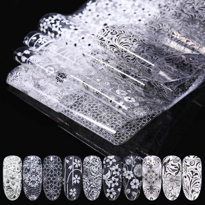 1 Rolls/Bag Nail Folies Kant Zwart Witte Bloem Serie Mixed Size Transfer Sticker Decals Nail Art Diy Ontwerp decoratie