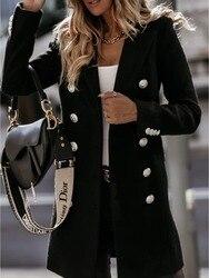 Casaco de lã real mistura casaco feminino duplo breaster inverno blazer moda elegante camelo estilo coreano terno queda 2020