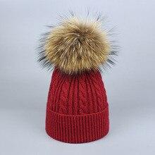 Зимняя меховая шапка с помпоном Skullies для женщин, кашемировая шерстяная хлопковая шапка, большая шапка с натуральным енотом, шапка с меховым помпоном, шапка с помпоном из лисьего меха