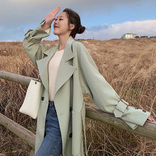 New Trench Coat Autumn Women 2019 Casual Thin Double-breasted Loose Long Windbreaker Outerwear new arrival autumn trench coat women loose clothing outerwear high quality double breasted women hooded long coat