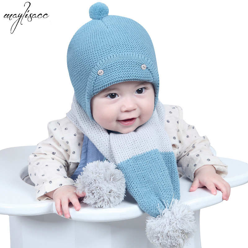 0-2 Years Old Baby Children Hat Scarf Set Winter Warm Newborn Knitted Hat Ear Protection Wearing Baby Hat Scarf 2 Pcs Set