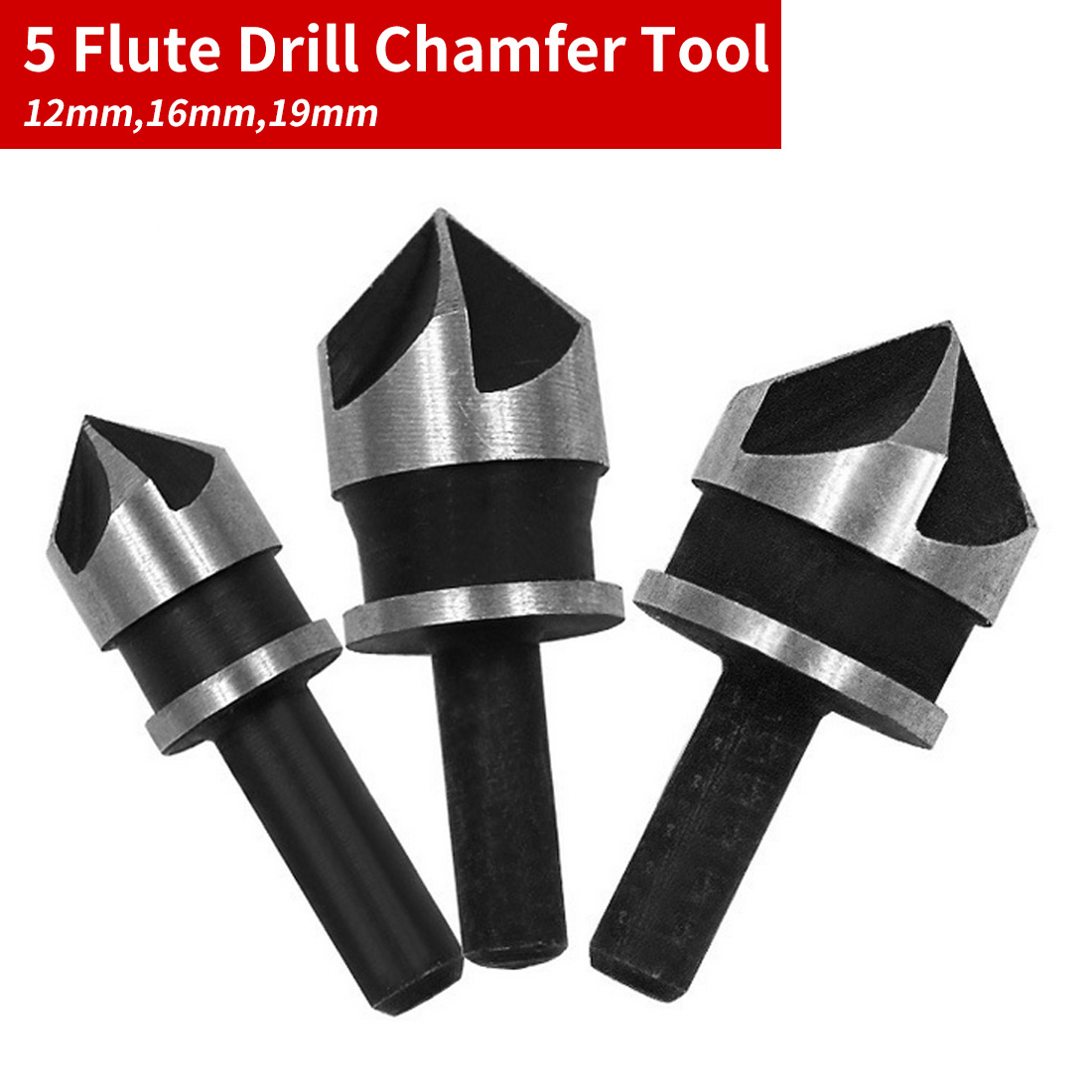 3pcs Carbon Steel 90 Degrees Round Shank 5 Edge Chamfer  Countersink Woodworking Hole Opener Punching 12mm/16mm/19mm