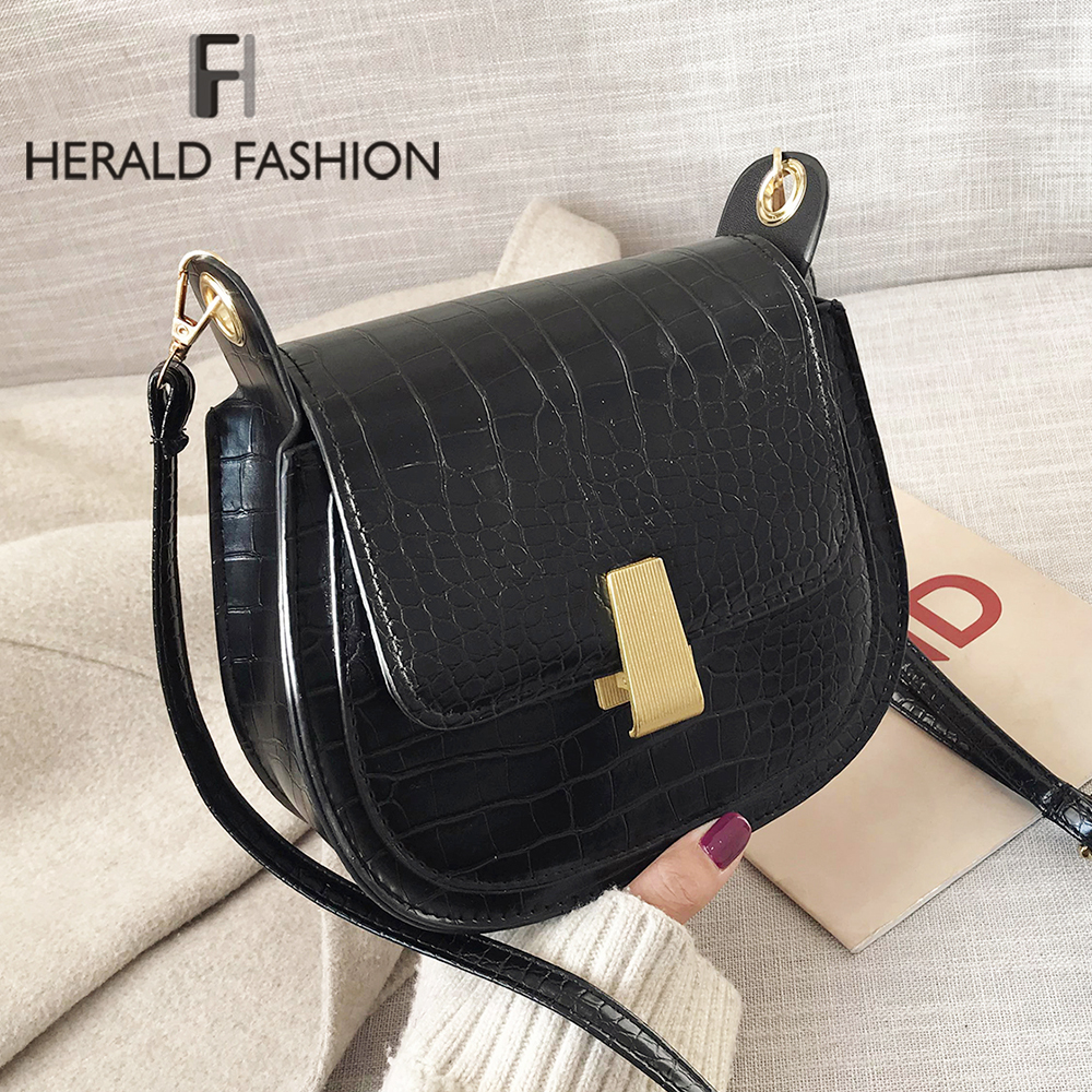 Women Alligator Pattern Over The Shoulder Bag PU Leather Female Flap Bags Tote Famous Designer Vintage Ladies Messenger Bags