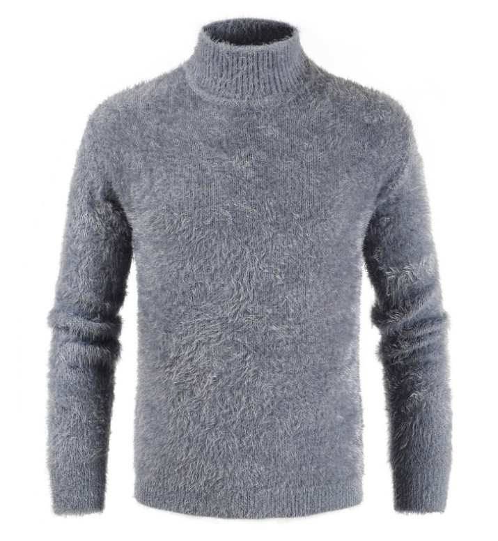 Men's New Sweater Autumn And Winter Thick Mohair Long-sleeved High Collar Knit Pullover Fashion Hot Slim Thick Warm Sweater Male
