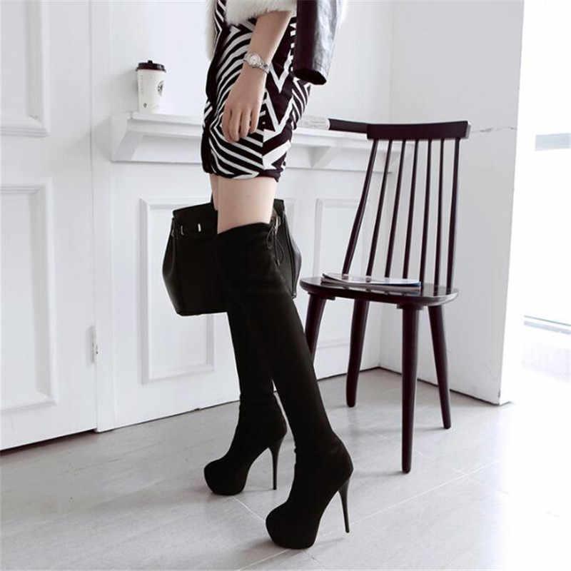 BBZAI Nieuwe patroon Europa en Amerika Extra grote code vrouwen Laarzen 14cm Dunne Hakken Superieure kwaliteit Over knie elastische laarzen