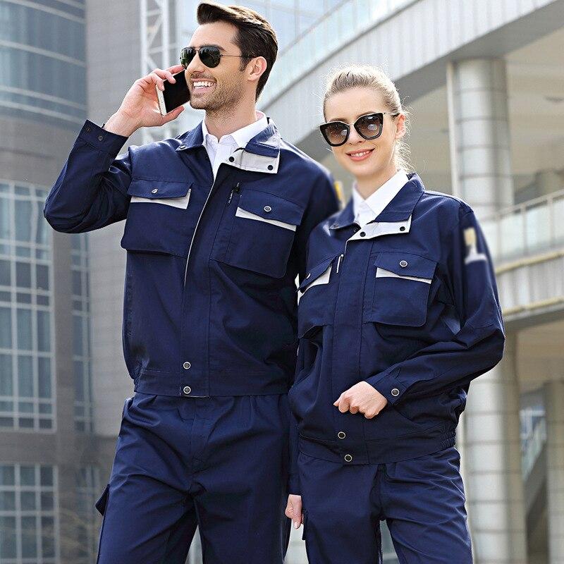 Men Women Working Clothes Long Sleeve Contrast Color Workshop Uniforms Auto Repair Workshop Welding Suits Mechanical Coveralls
