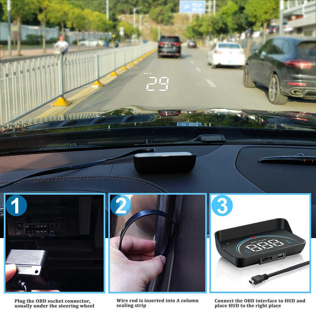 M8 รถ HUD Head Up จอแสดงผล OBD2 II Overspeed โปรเจคเตอร์กระจกรถยนต์อัตโนมัติแรงดันไฟฟ้า RPM รถจัดแต่งทรงผม