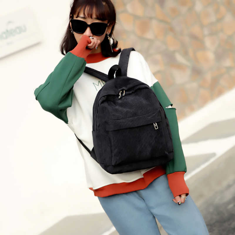 Cord Rucksack Mode Frauen Schule Rucksack Reine Farbe Frauen Rucksack Teenger Mädchen Schule Taschen Weibliche Mochila Rucksack Pack