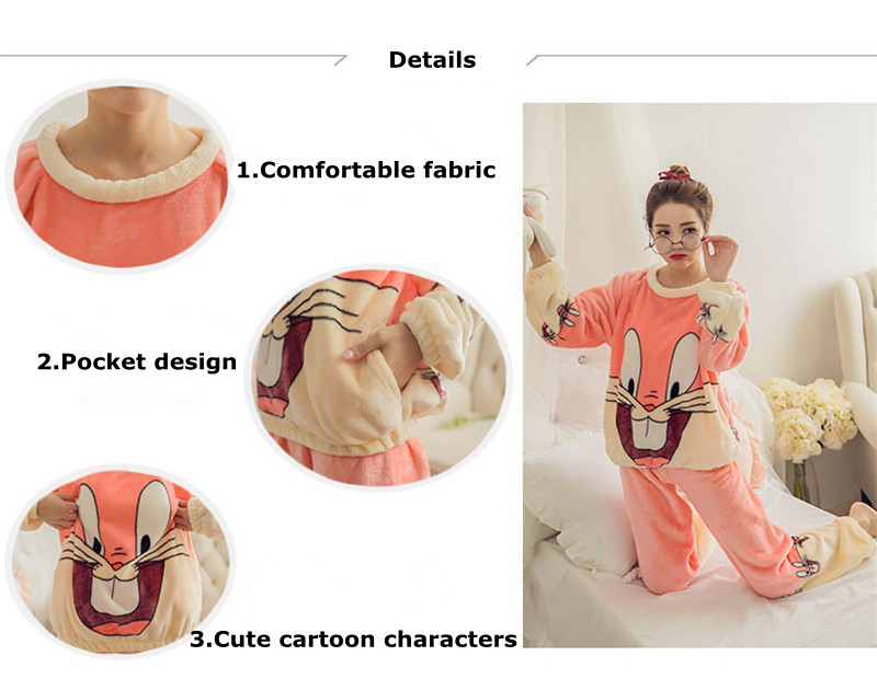 JULY'S SONG Flannel Women Pajamas Sets Autumn Winter Pajamas Cartoon Thick Warm Women Sleepwear Cute Animal Female Homewear 23