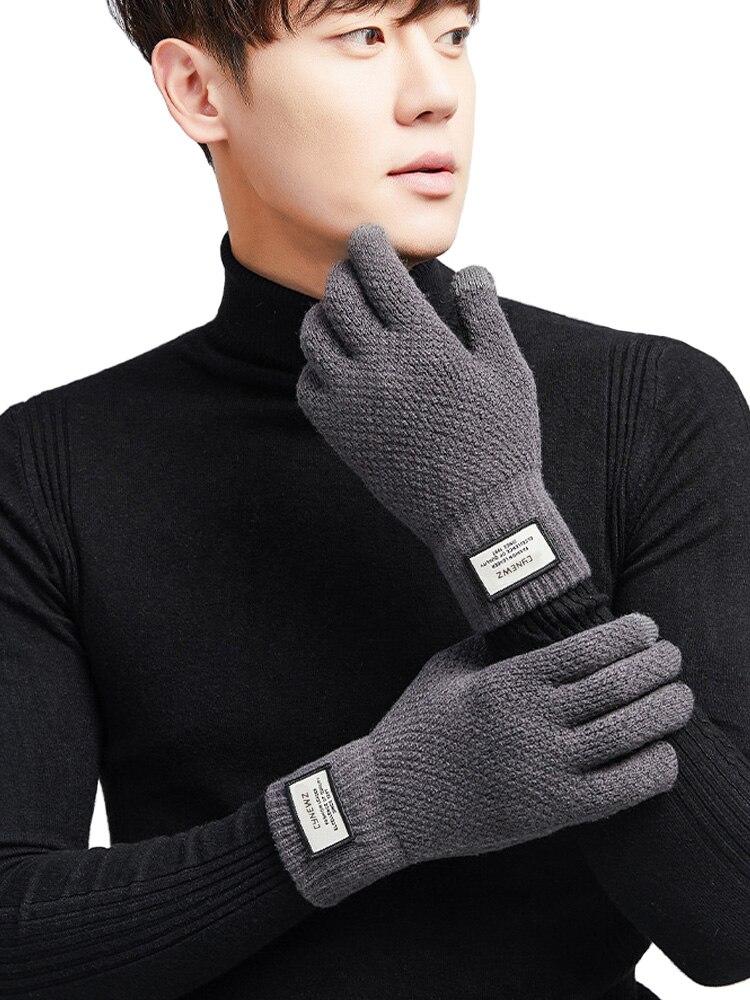 Mitten Business-Gloves Touch-Screen Cashmere Wool Warm Winter Men Autumn Male Solid Thicken
