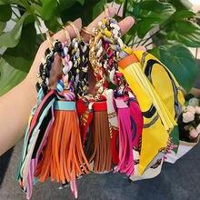 Fashion silk scarf bowknot keychains leather pu tassel key chain