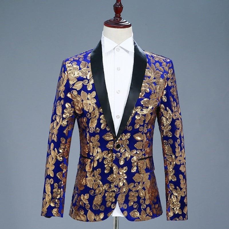 2020 New Mens Slim Fit Sequins Embroidery Blazer Jacket Velvet Formal Dress Suit Shawl Collar Single Botton DJ Show Blazer Coat